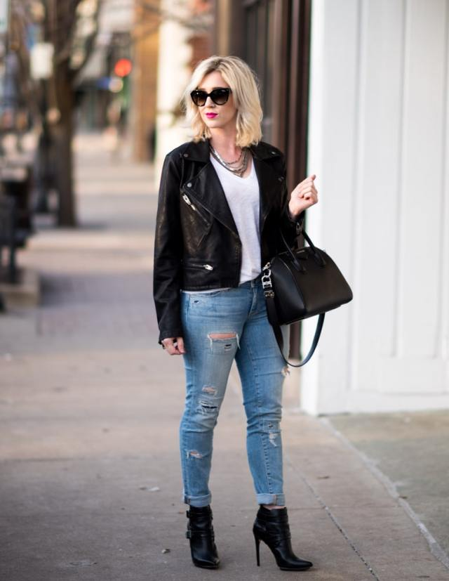 faux leather jacket black, ripped denim, black booties