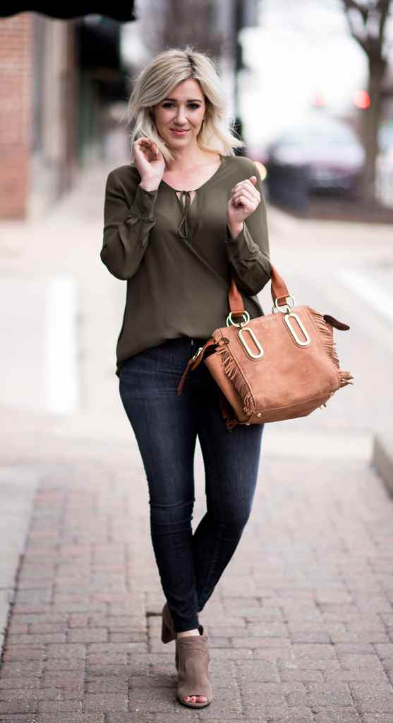 army green wrap top
