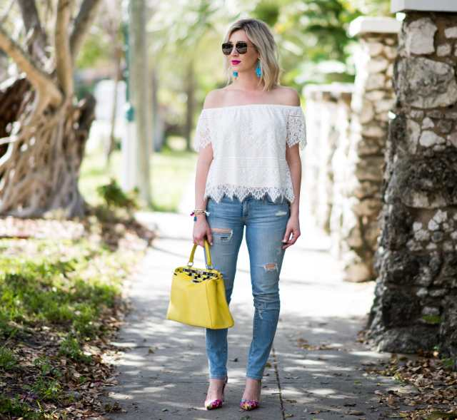White lace top with Fendi Bag