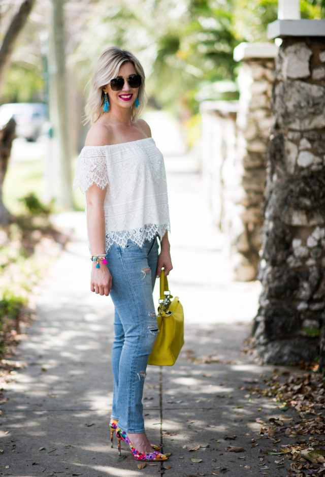 White lace top and jeans with Manolo Blank pumps