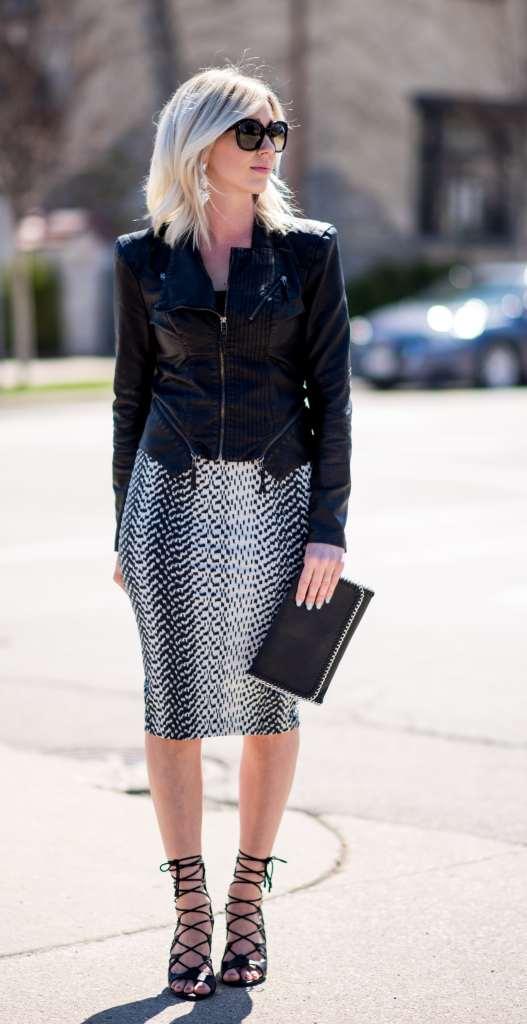 pencil skirt & leather jacket