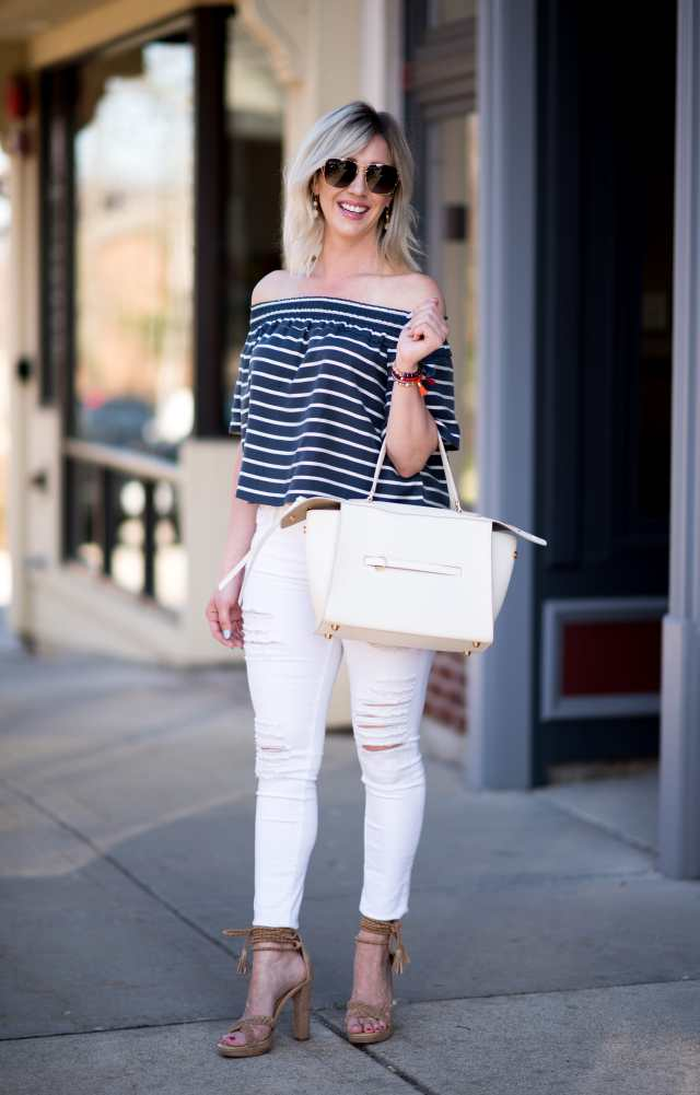 off the shoulder top, white distressed jeans