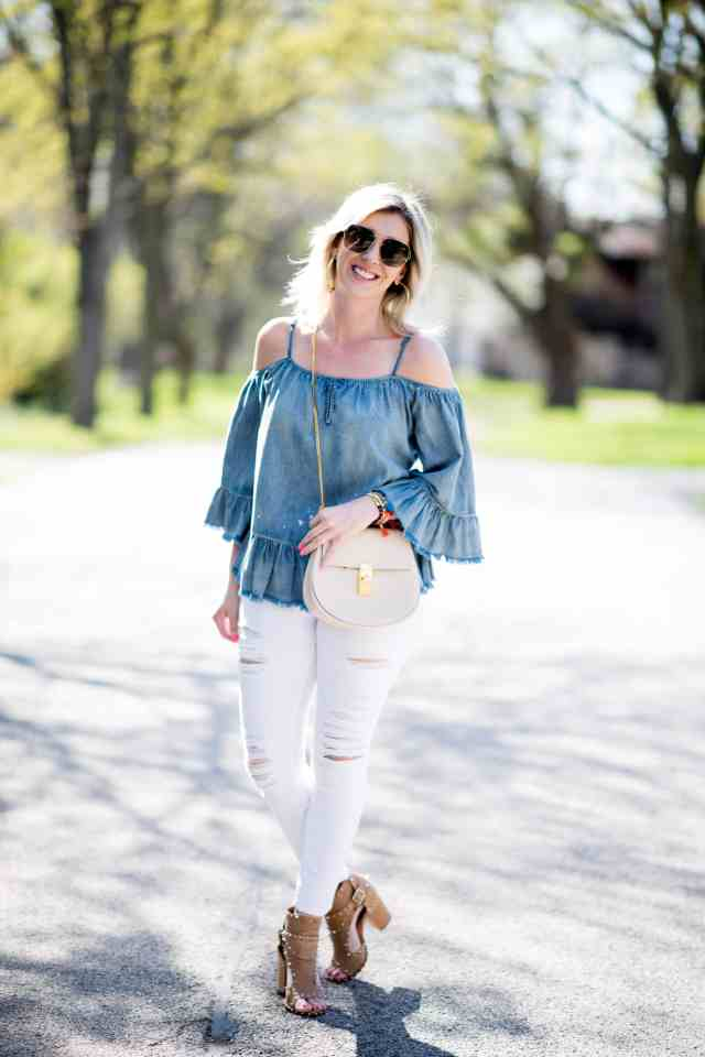 chambray top, white ripped jeans