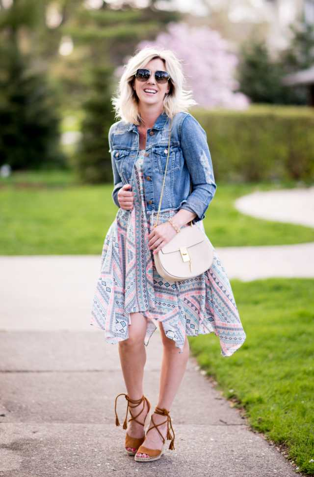 high/low dress with denim jacket