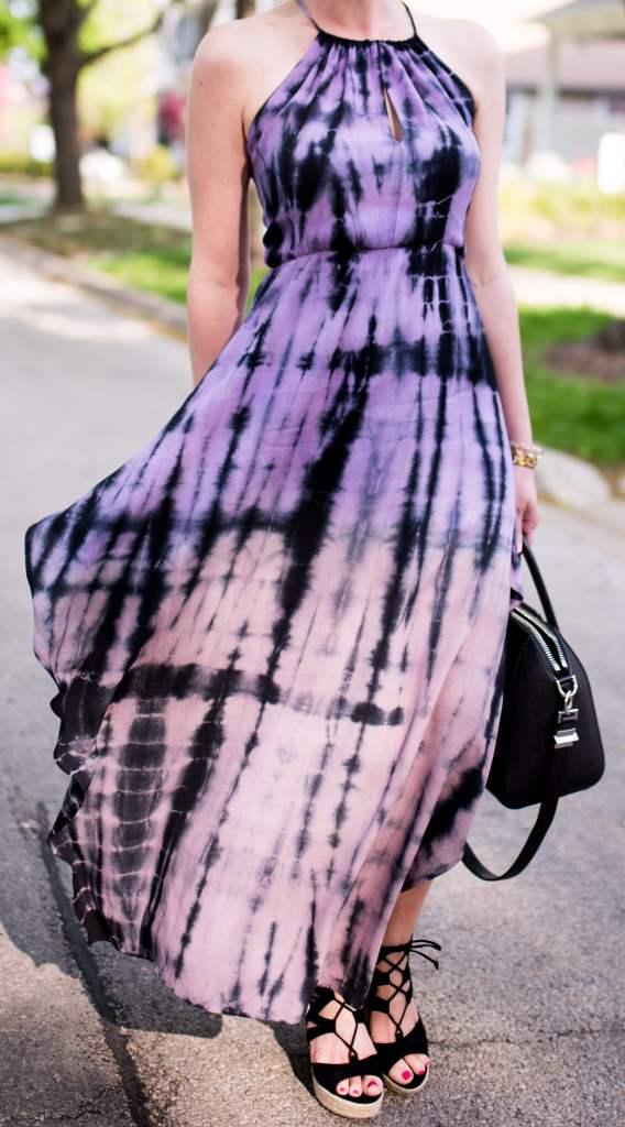 Fraiche by J tie dye halter maxi dress