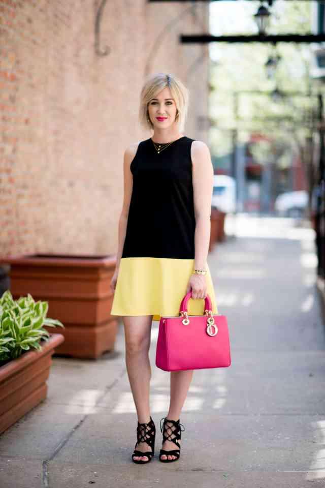 black & yellow shift dress