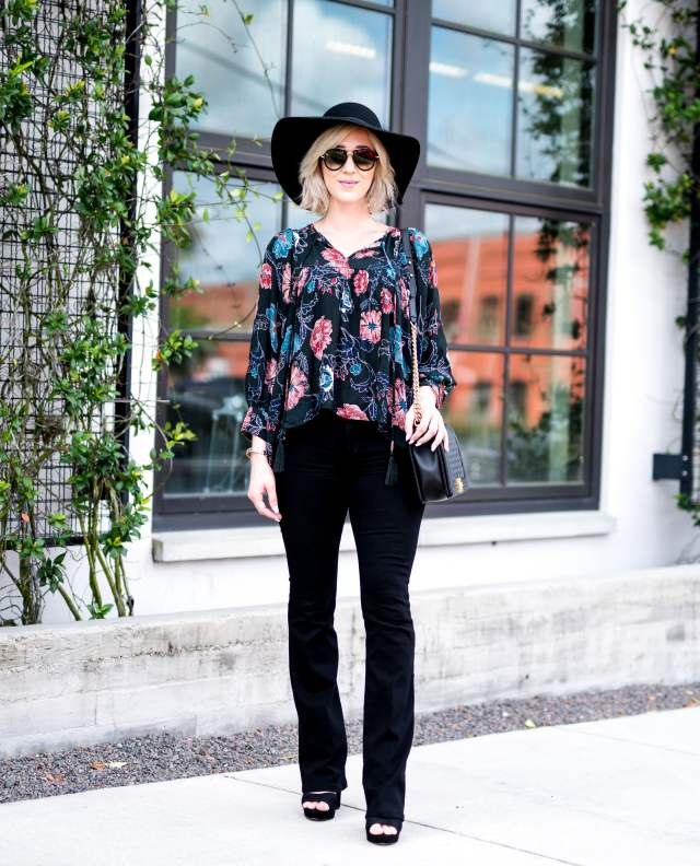 bootcut jeans & peasant blouse