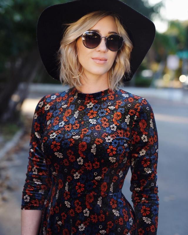 velvet dress, floppy hat