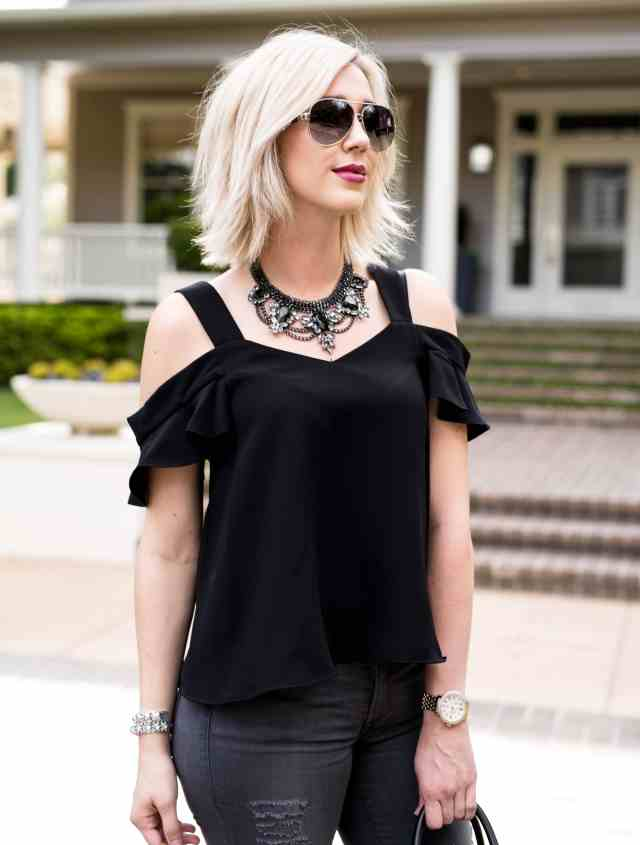 Topshop Polly Ruffle Bardot Top