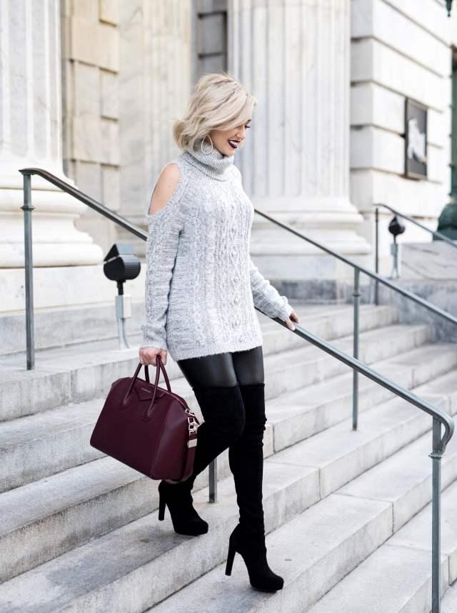 Chelsea28 Sequin Cold Shoulder Sweater