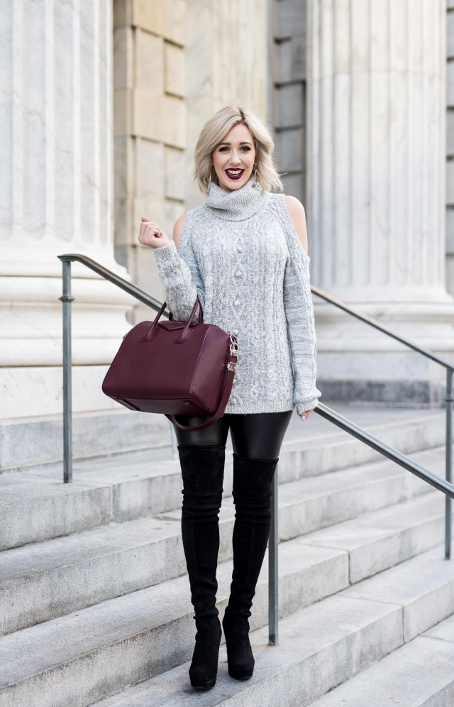 Sequin Cold Shoulder Sweater