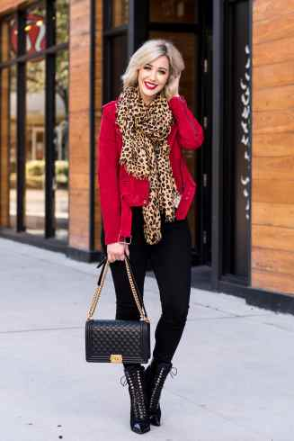 Red Suede Jacket & Leopard Scarf