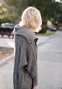 express Cable Knit Snap Front Wedge Coatigan