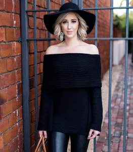sun & shadow Cowl Off the Shoulder Sweater