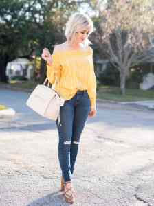 yellow off the shoulder top