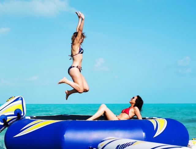 trampoline in the ocean