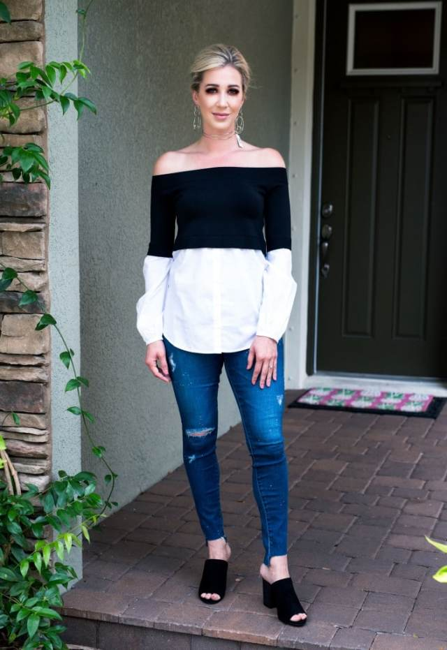 trouve off the shoulder poplin sweater