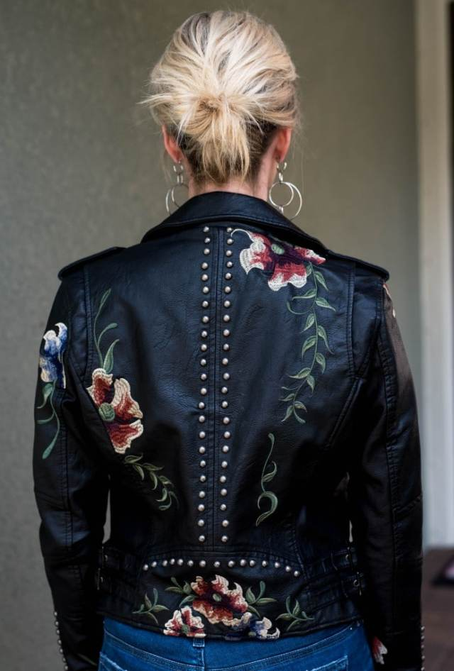 blank nyc Embroidered Faux Leather Moto Jacket