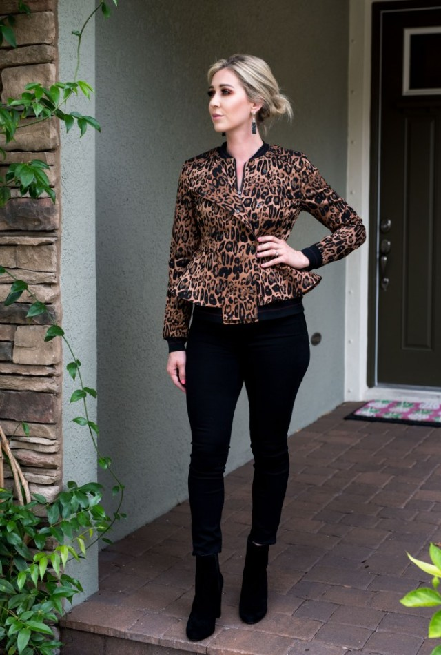 trouve leopard print blazer