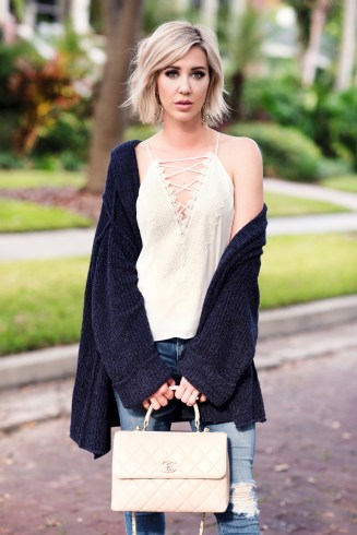 Oversized Sweater & Lace Cami
