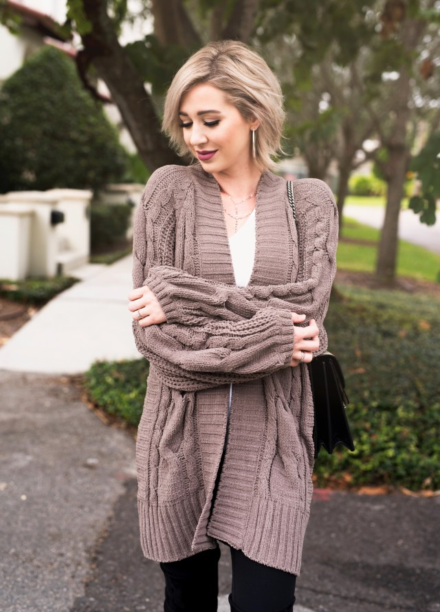 express Balloon Sleeve Matte Chenille Cable Knit Cover-Up