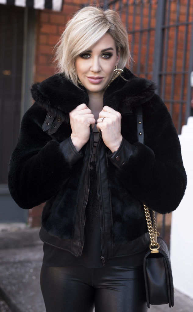 black faux fur