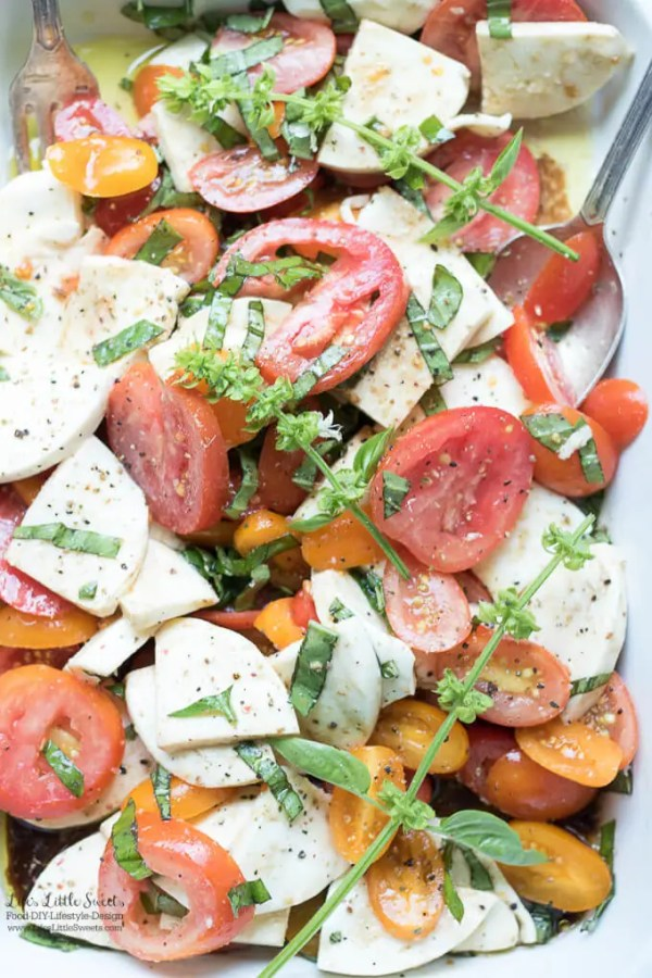 Tomato Basil Mozzarella Salad Summer Fall Balsamic