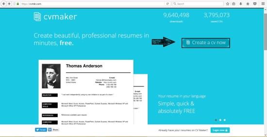 CV Maker Front Page
