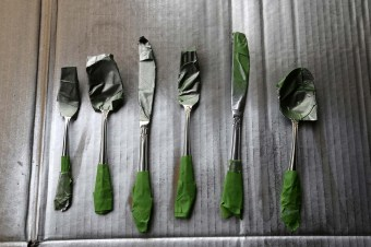 taped utensils for color