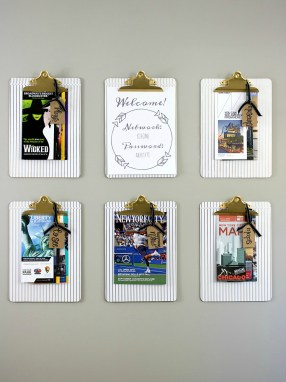 Guest Room Clipboard DIY Project with Free Wifi Printable