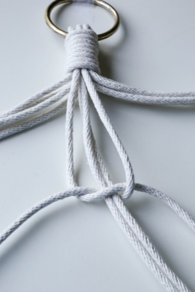 macrame double knot close up