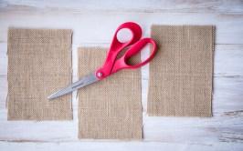 burlap strips red scissors