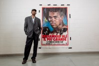 muhammad ali poster white brick wall african american man