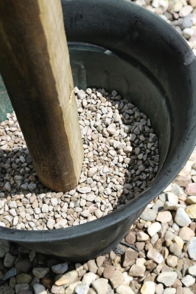 planter gravel post diy pool toy storage rack