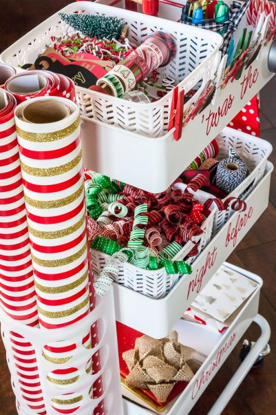 wrapping paper organizer gift wrapping station