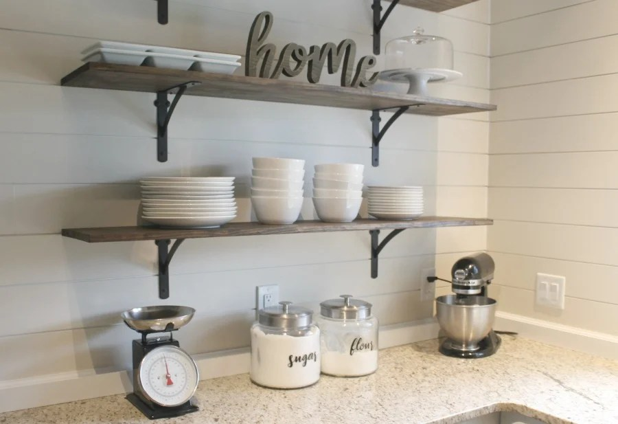 kitchen shelf luxury outdoor kitchens diy shelves for under 100 how to life storage blog farmhouse style white ceramic bowls and plates