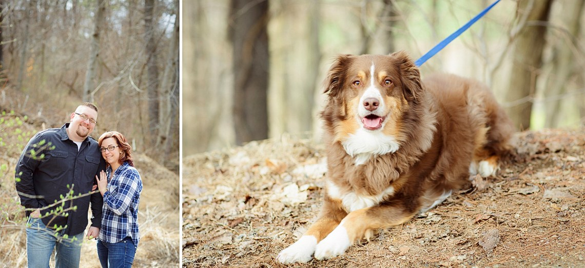 Engagement Photos with dog in woods Berks County PA