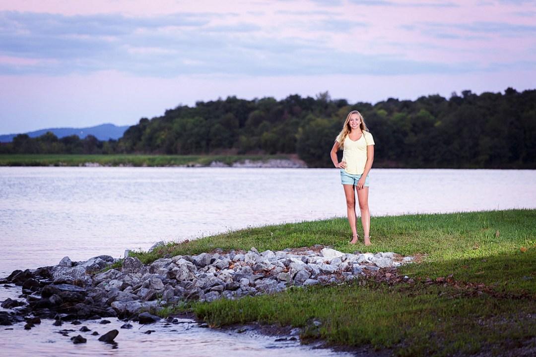 Sunset senior photos blue marsh lake