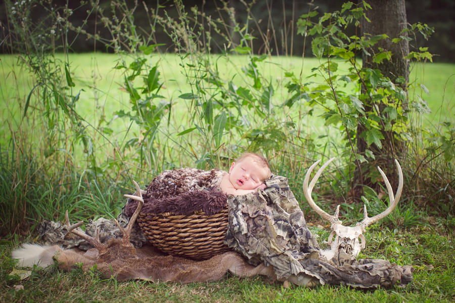 hunting themed newborn photo