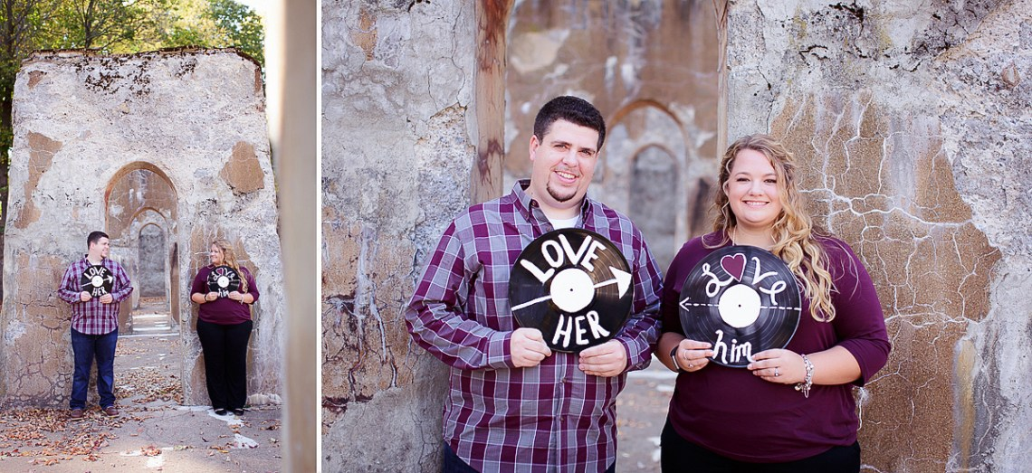 Fall Engagement Photos Outdoors with LP records