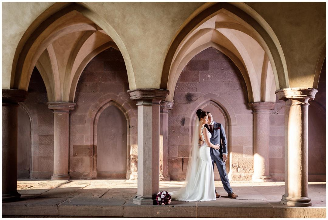 wedding photo in berks county arches