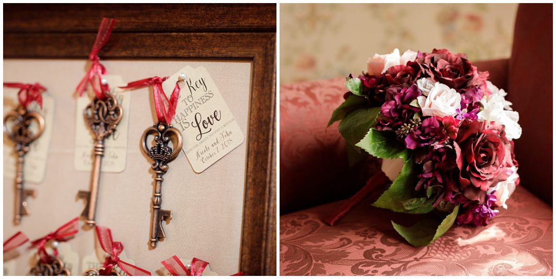 wedding details bouquet and keys