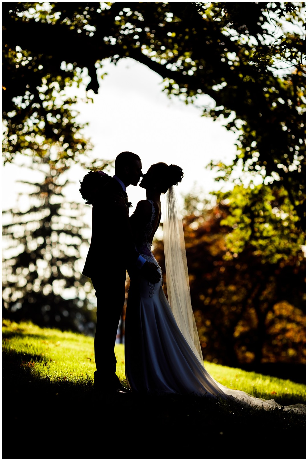 silhouette of wedding couple agains fall scenery