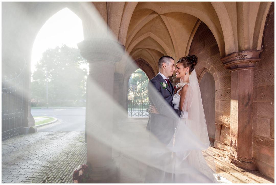 glance through bridal veil