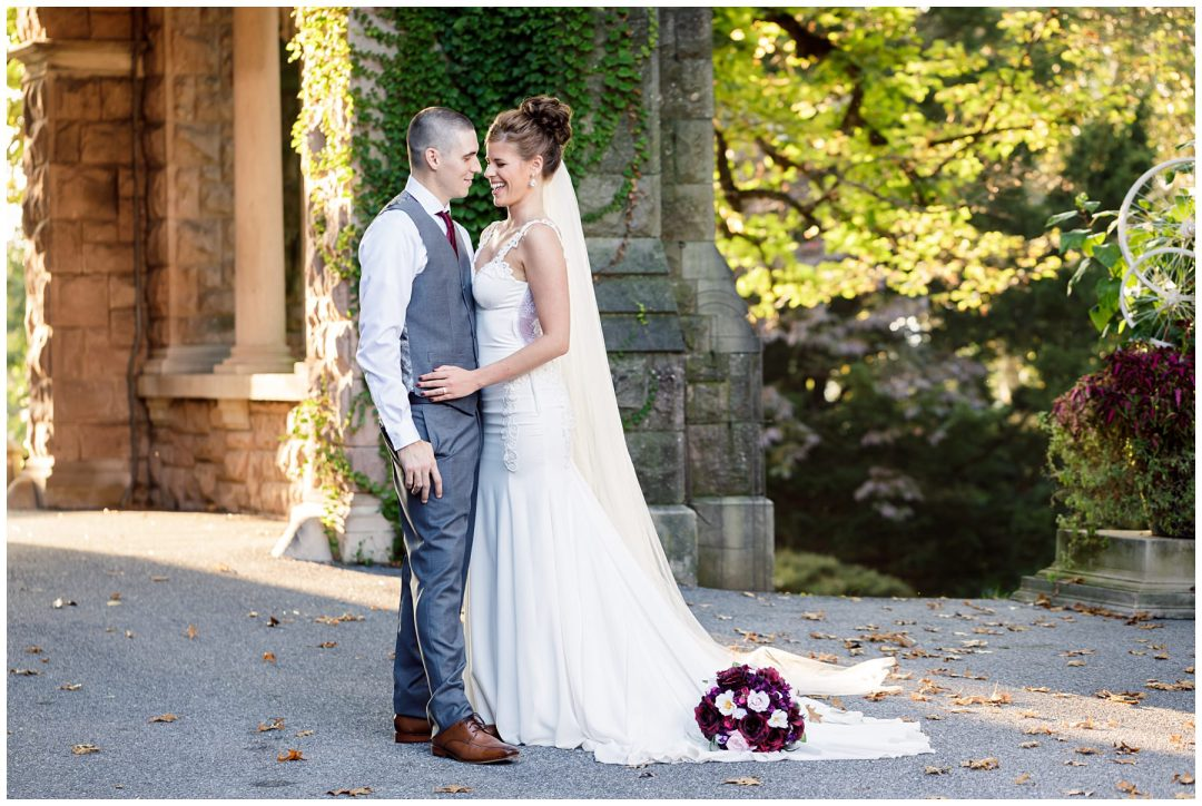 bride and groom at historic hotel