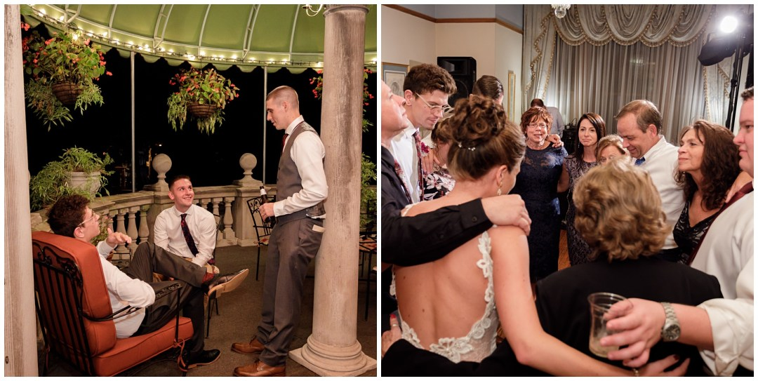 family moments at wedding reception