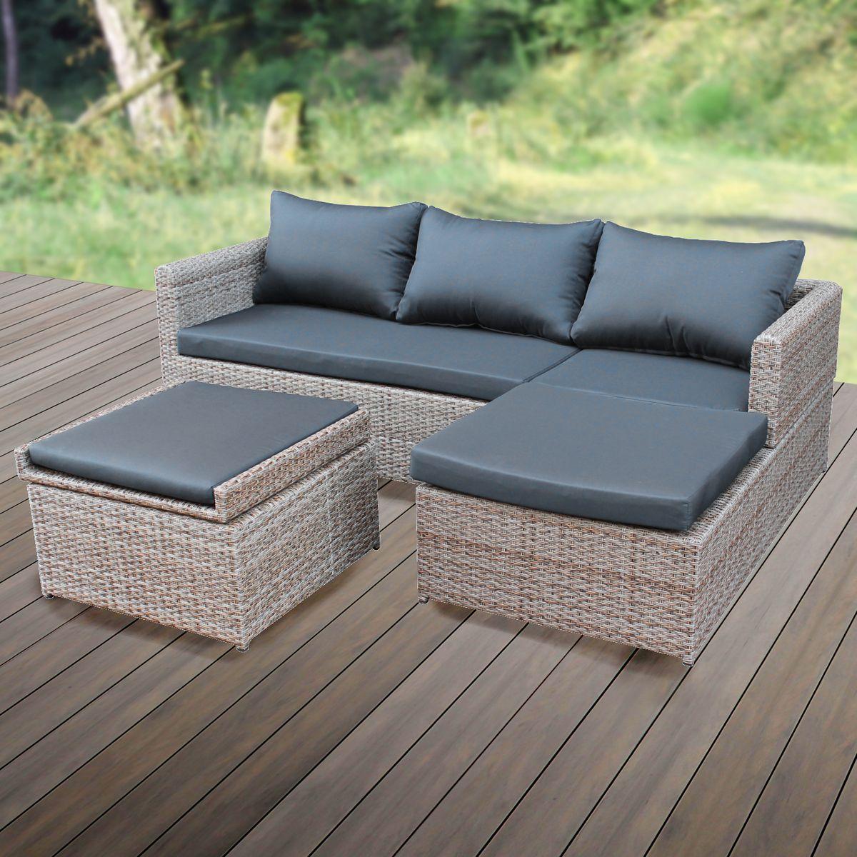 Schickes Wohndesign Gartenmoebel Rattan Lounge