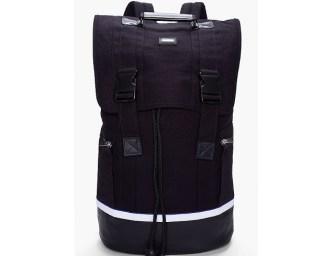 SLVR Black Leather Trimmed Mesh Backpack
