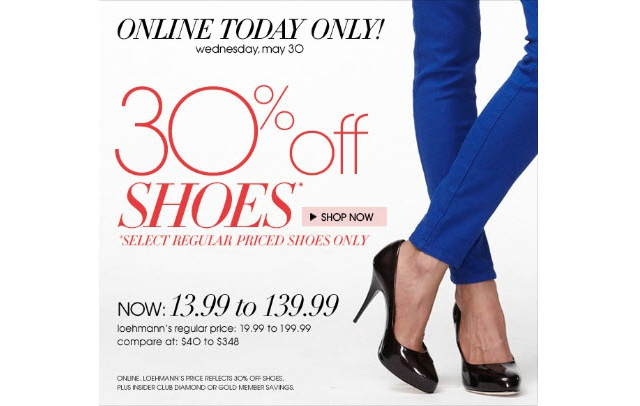 Loehmann's 30% Off Select Designer Shoes