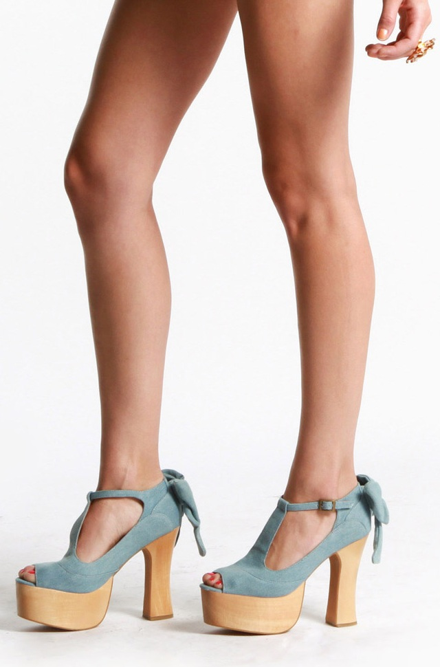 Wildfox X Jeffrey Campbell Dallas Platform Shoes in Denim